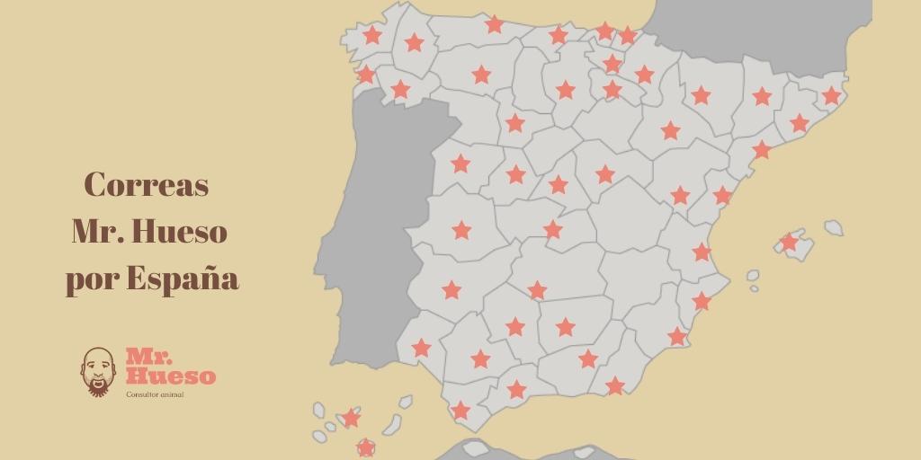 Mapa de España con las provincias donde hay alguna correa Mr. Hueso señaladas