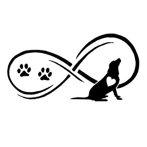 Signo de infinito con huellas de perro y la silueta de un labrador
