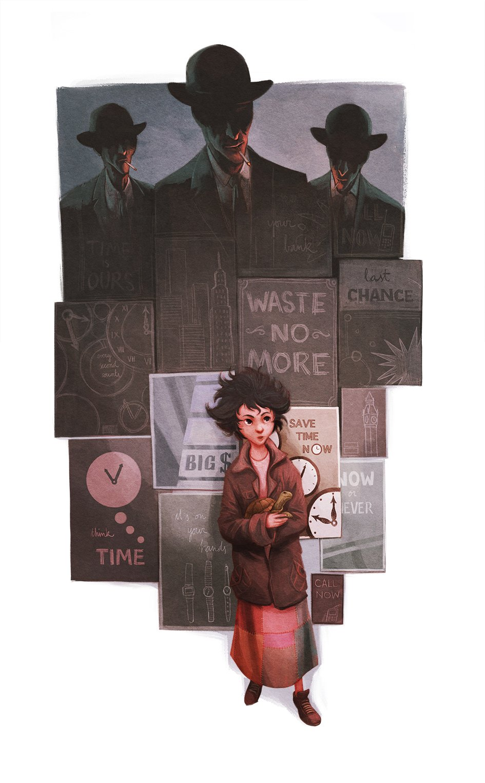 ilustración en referencia al libro Momo