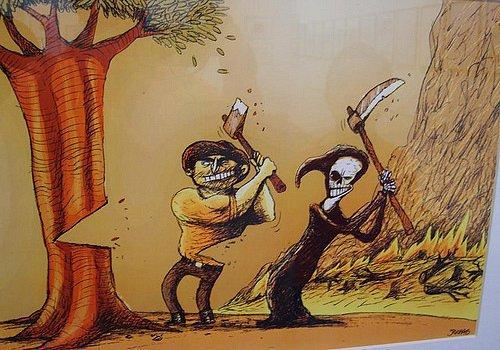 Un hombre talando un árbol, junto a la muerte y la güadaña