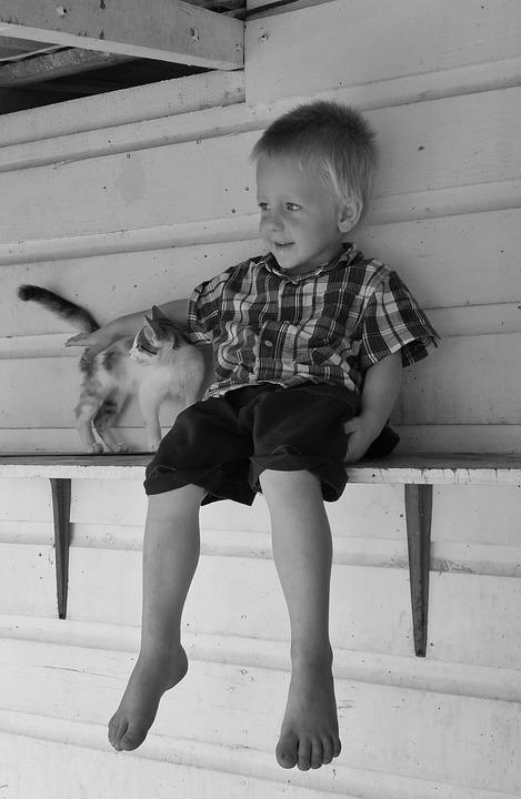un niño sentado junto a su gato
