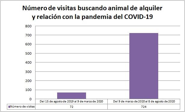Número de visitas buscando un animal del alquiler, antes y durante la pandemia, que se multiplican por 10