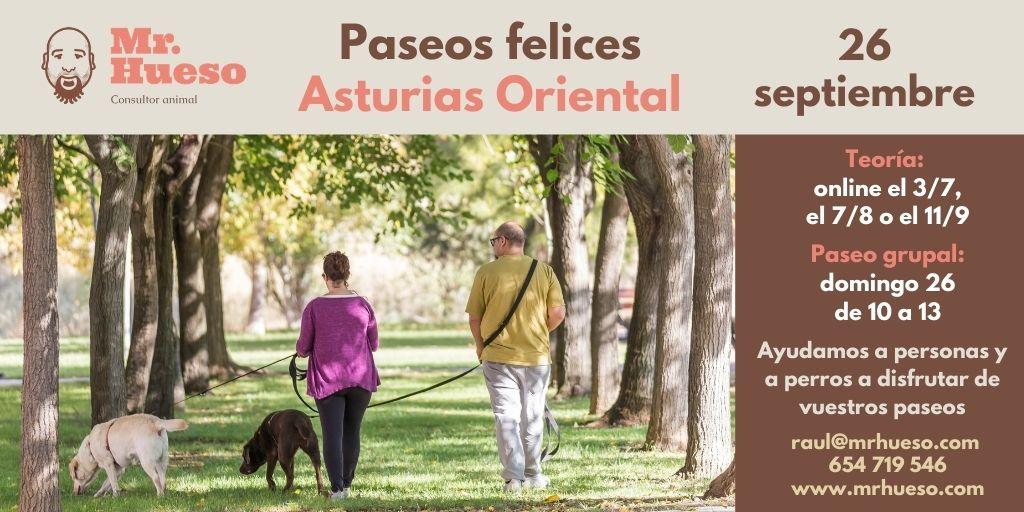 Cartel de la formación, aparecen dos personas junto a sus perros paseando entre árboles